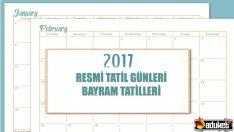 2017 Resmi Tatil Günleri Takvimi